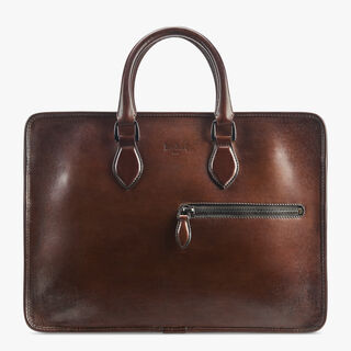 Un Jour Calf Leather Briefcase, MOGANO, hi-res