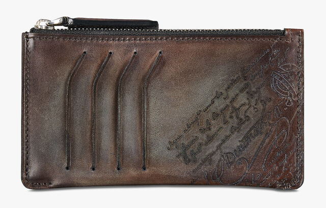 Facade Epure Small Scritto Leather Zipped Card Holder, ICE BROWN, hi-res