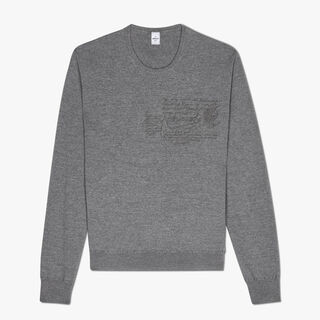 Regular Fit Scritto Embroidered Wool Crewneck Sweater