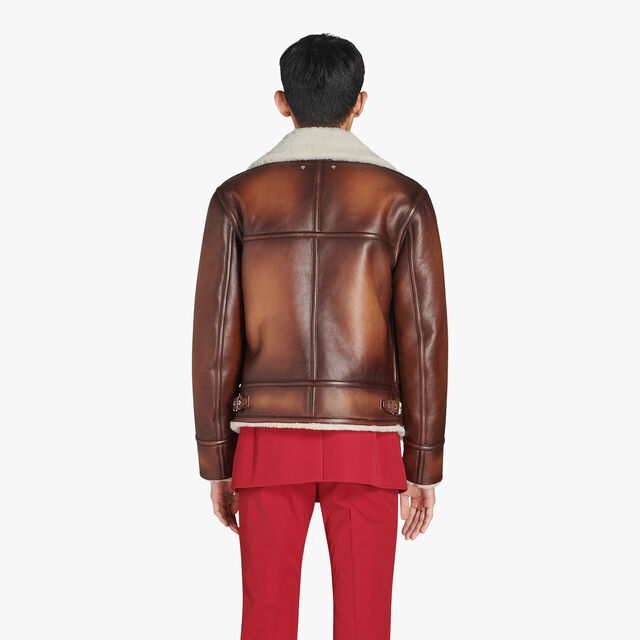 Patina Deer Leather Blouson With Shearling Collar, BRUN, hi-res