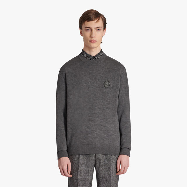 Wool Sweater With Leather Crest, STEEL GREY, hi-res