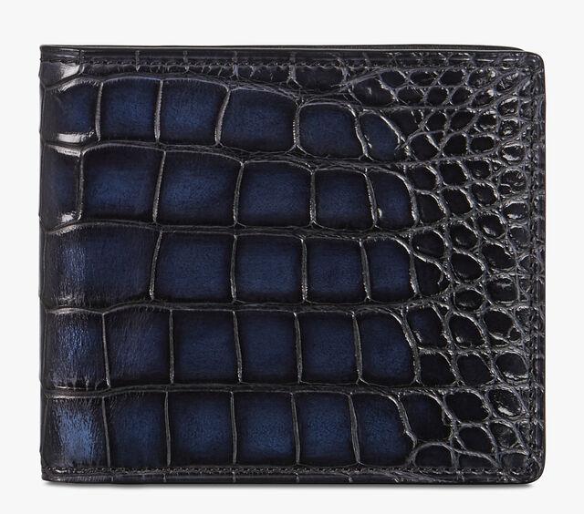 Makore Alligator Leather Compact Wallet, NERO BLU, hi-res