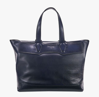 Aire Small Canvas & Leather Tote, BLU NOTTE, hi-res