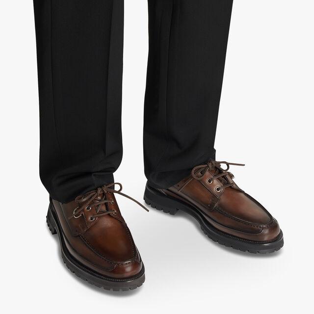 Twist Leather Boat Shoe, BRUN, hi-res