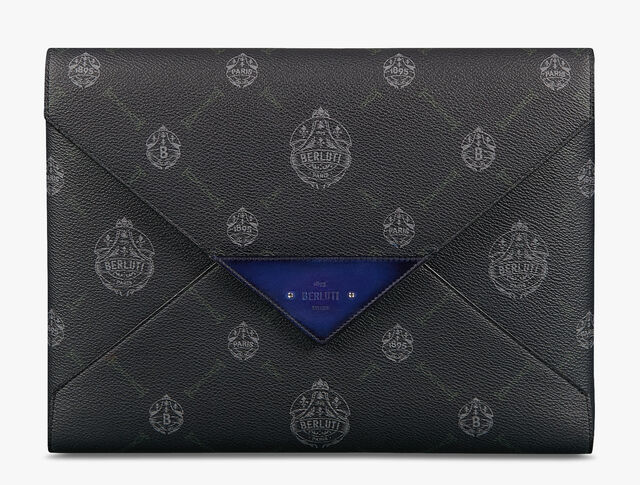 Enveloppe Canvas and Leather Pouch, BLACK + UTOPIA BLUE, hi-res