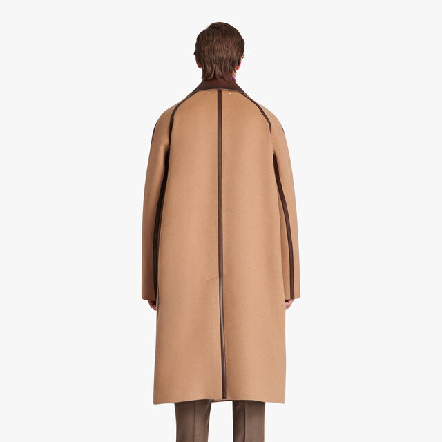 Camel Coat With Patina Leather Details, CAMEL, hi-res