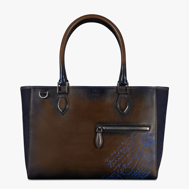 Toujours Small Nylon and Leather Scritto Tote Bag, BURNT BLUE, hi-res
