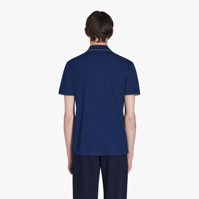 Regular Fit Cotton Polo Shirt With Embroidered Logo, MAZARINE BLUE, hi-res