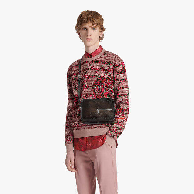 Journalier Scritto Leather Messenger Bag, ICE BLACK, hi-res