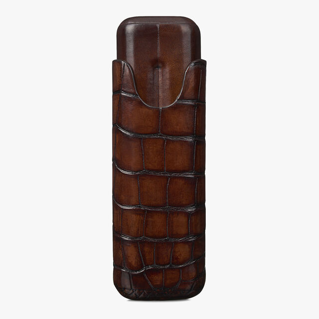 Alligator Leather Two-Cigar Case, MOGANO, hi-res
