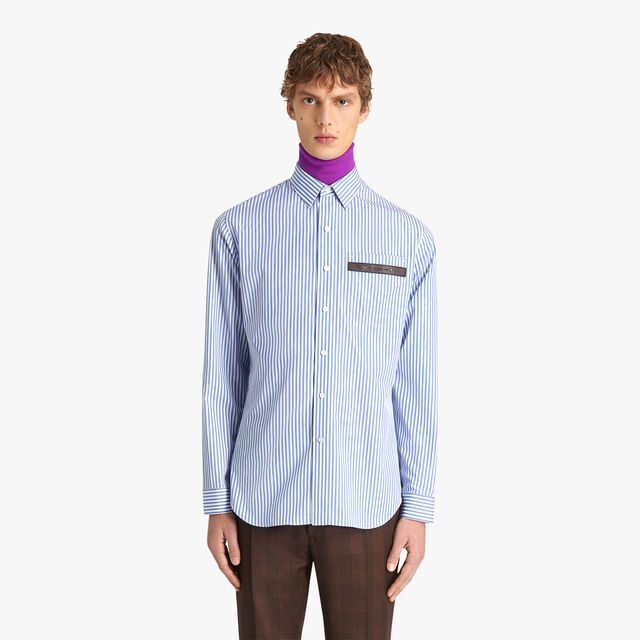 Striped Alessandro Shirt With Leather Detail, DEEP SEA BLUE, hi-res