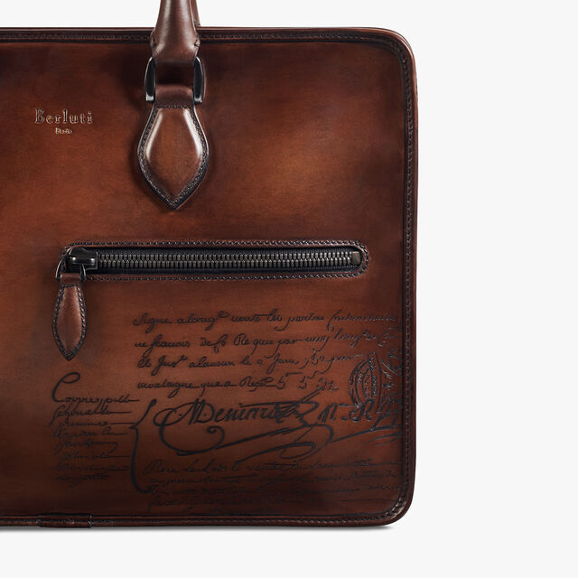 Un Jour Scritto Leather Briefcase, MOGANO, hi-res