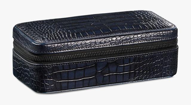 Alligator Leather Travel Watch Case, NERO BLU, hi-res