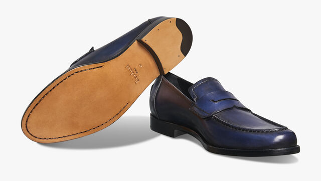 Gianni Sapienza Calf Leather Loafer, BLU PROFONDO, hi-res