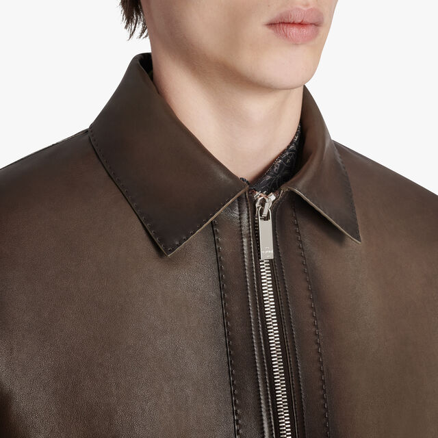 Leather Patina Blouson, DARK CHOCOLATE, hi-res