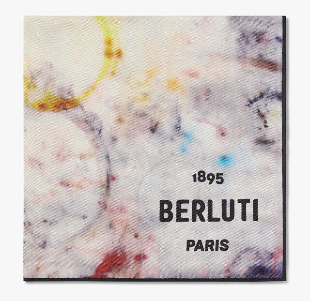Marble-Print Silk Scarf, MARBLE, hi-res
