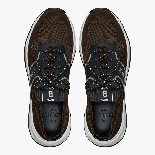 Shadow针织与皮革运动鞋, DARK BROWN, hi-res