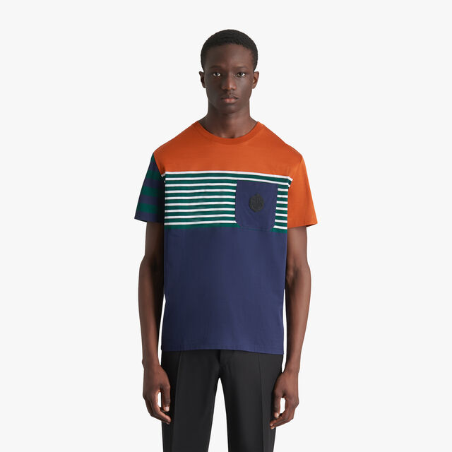 Colorblock T-Shirt With Crest, SHADED ORANGE, hi-res