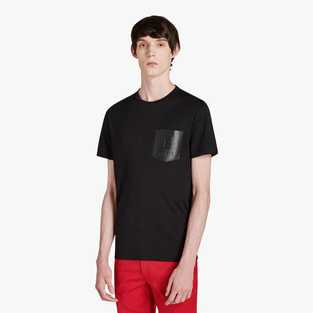 Regular-Fit Cotton T-Shirt With Leather Chest Pocket, NOIR, hi-res