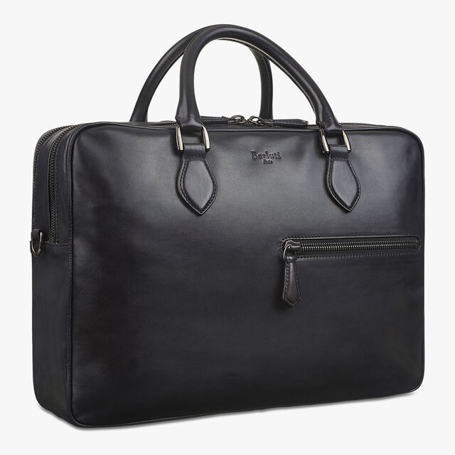 F088 Large Leather Briefcase, NERO GRIGIO, hi-res