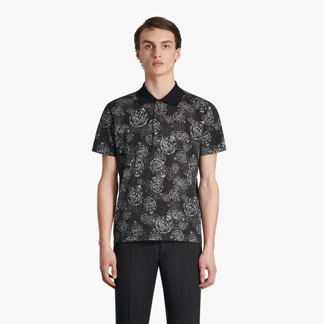 Printed Crest Polo-Shirt, NOIR, hi-res