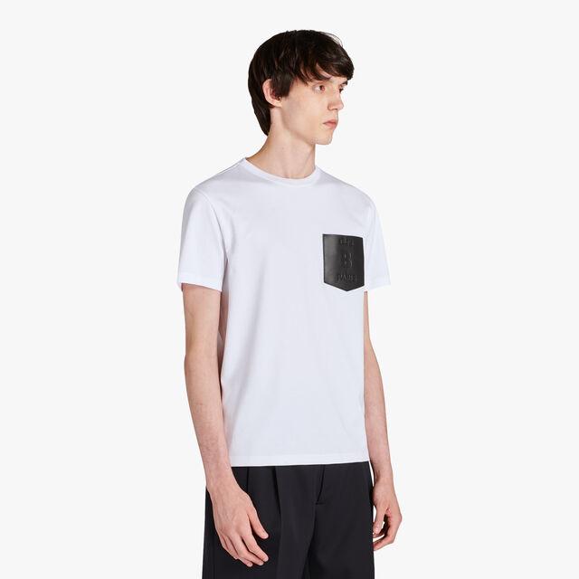 T-Shirt En Coton Avec Poche En Cuir, BLANC OPTIQUE, hi-res