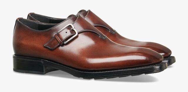 Incision Detour Calf Leather Buckle Shoe, BRUN, hi-res