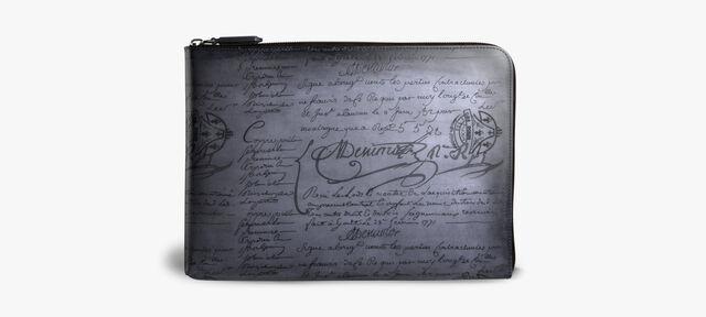 Nino Large Scritto Leather Clutch, MOGANO, hi-res