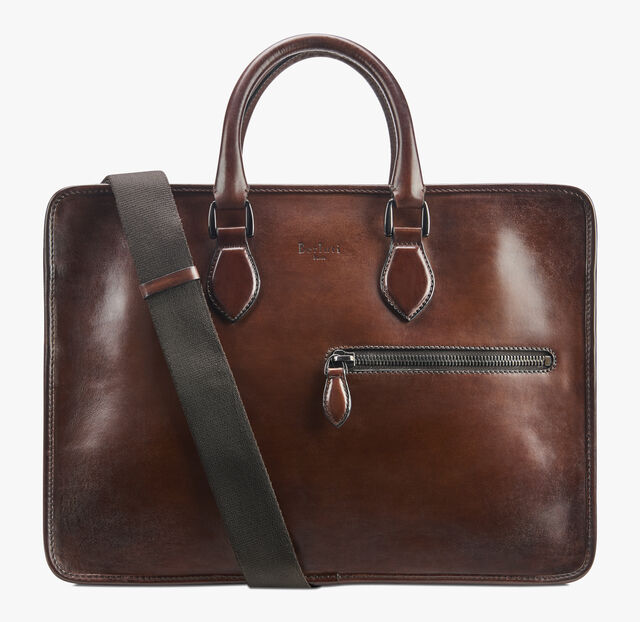 Un Jour Small Leather Briefcase, MOGANO, hi-res