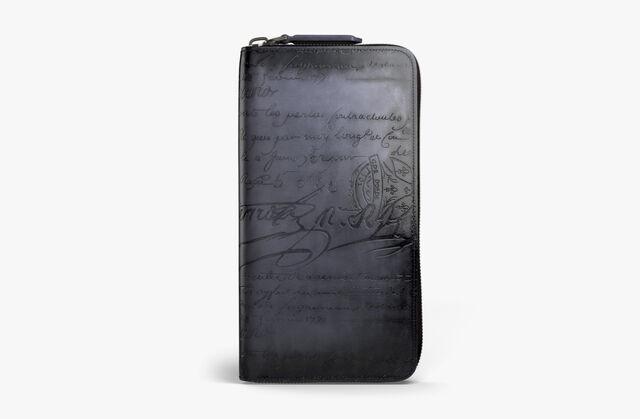 Itauba Scritto Leather Long Zipped Wallet, NERO GRIGIO, hi-res