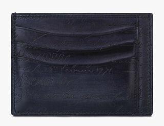Bambou Tetris Engraved Calf Leather Card Holder, NERO, hi-res