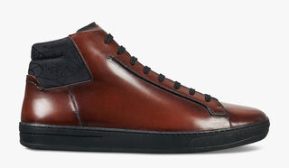 Outline Burano Calf Leather Sneaker, MOGANO, hi-res