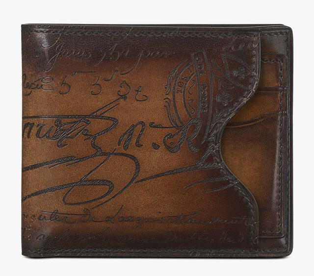 Makore 2 In 1 Scritto Leather Compact Wallet, TOBACCO BIS, hi-res