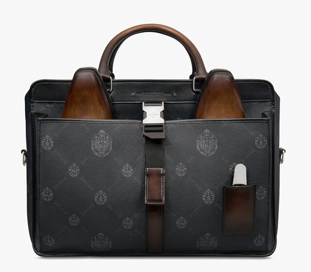 Aviator Canvas and Leather Holdall, BLACK+TDM INTENSO, hi-res