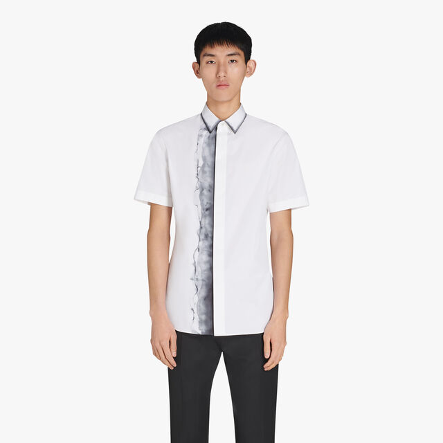 Andy Slim-Fit Short Sleeves Printed Cotton Shirt, OPTICAL WHITE/LEAD, hi-res