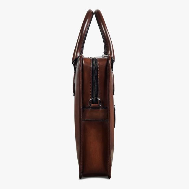 Un Jour Scritto Calf Leather Briefcase, MOGANO, hi-res