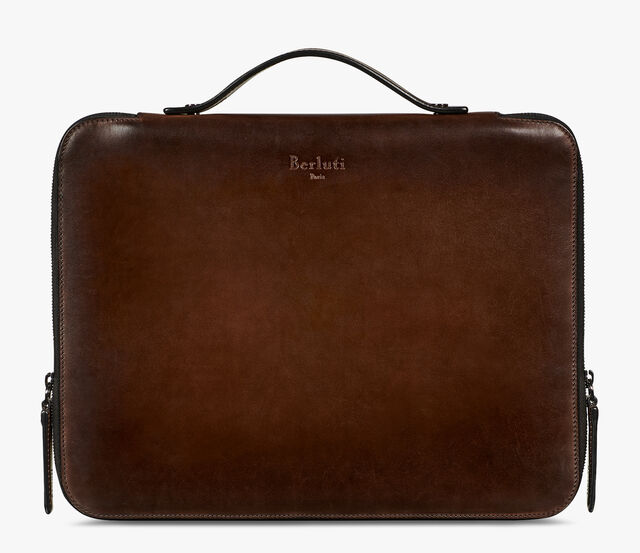Nino Large Leather Clutch, BRUN, hi-res