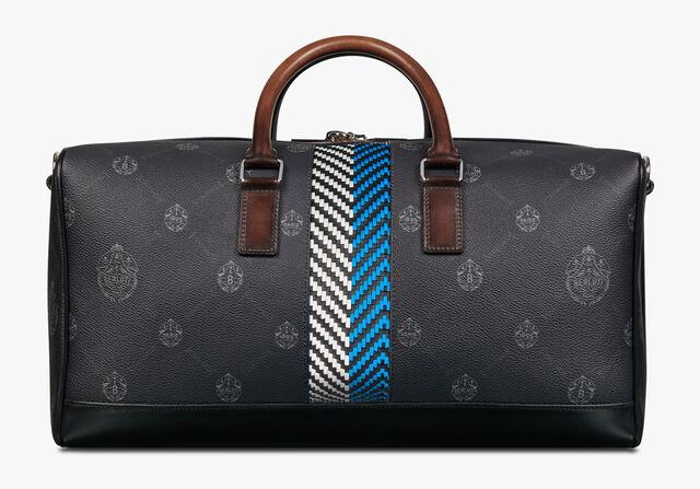 Adventure Medium Canvas and Leather Travel Bag, BLACK + BLUE, hi-res