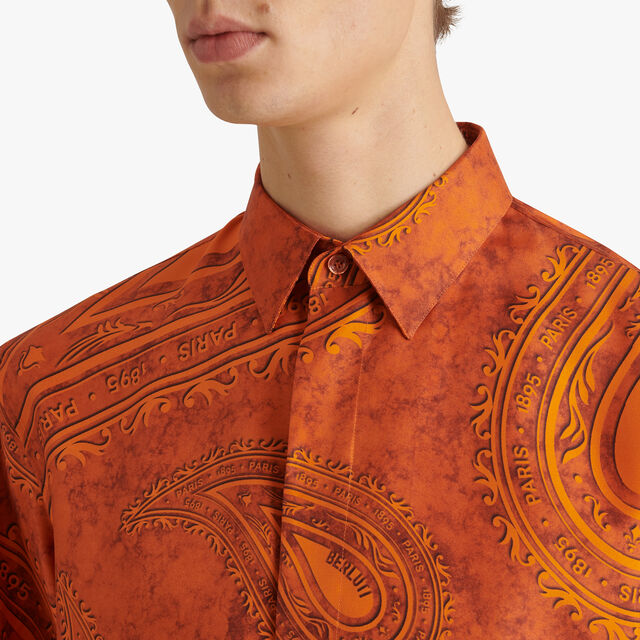 Short Sleeve Printed Silk Shirt, ORANGE PAISLEY, hi-res
