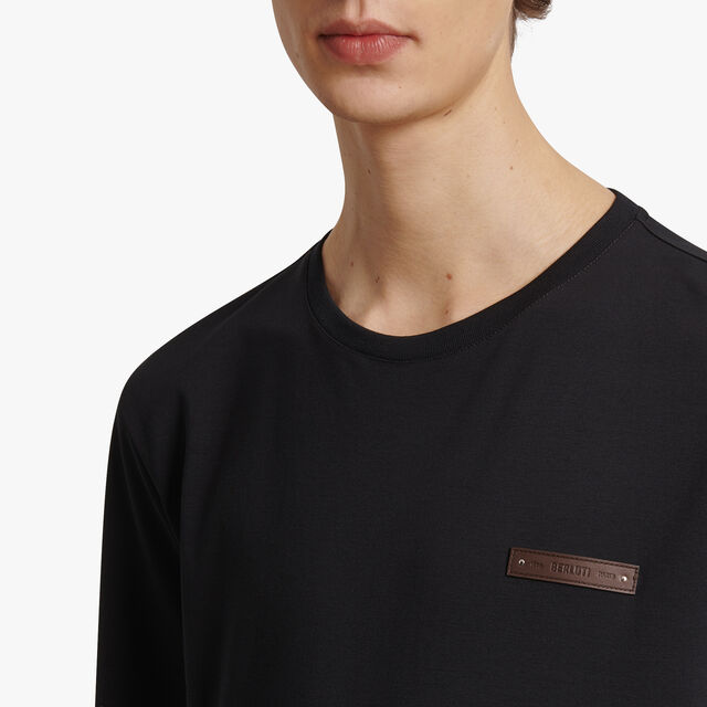 T-Shirt Avec Détail En Cuir, NOIR, hi-res