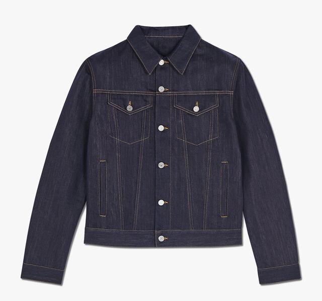 Denim Jacket With Leather Details, INDIGO, hi-res