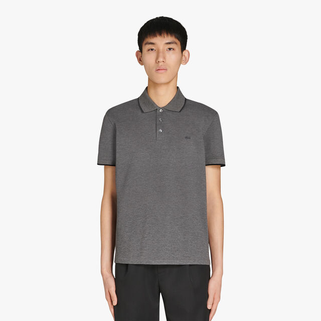 Regular Fit Cotton Polo Shirt With Embroidered Logo, LEAD, hi-res