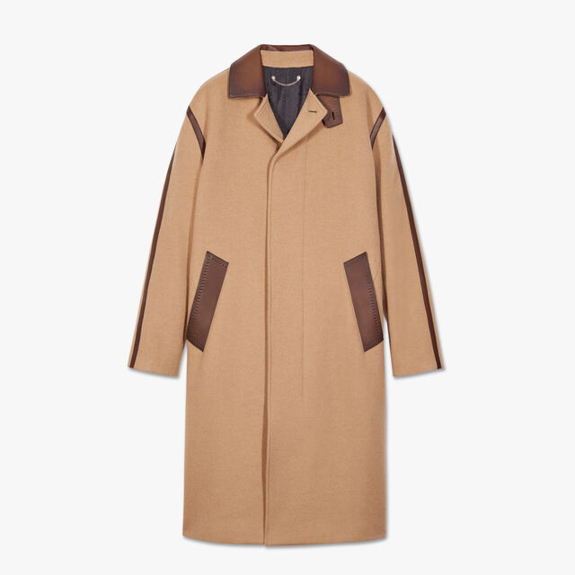Camel Coat With Patina Leather Details