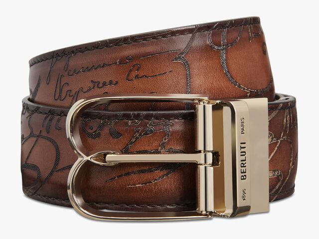 Venezia Scritto Leather 35 MM Belt, NERO GRIGIO + MOGANO, hi-res