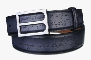 B Leather Belt - 35mm, NERO GRIGIO, hi-res