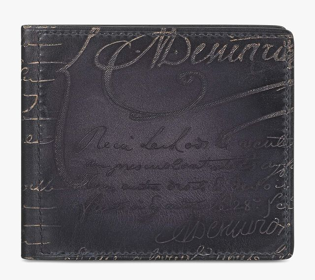 Assao Scritto Leather Bills Holder, NERO, hi-res