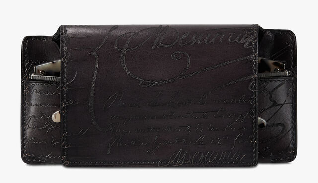 Scritto Leather Sunglasses Case, DEEP BLACK, hi-res