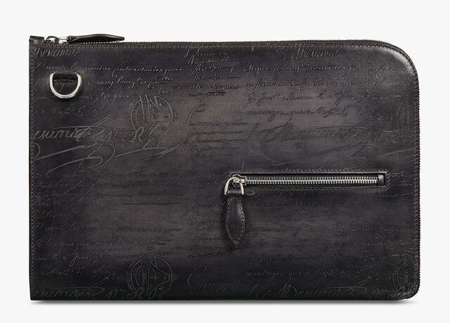 Nino GM Scritto Leather Clutch, NERO GRIGIO, hi-res