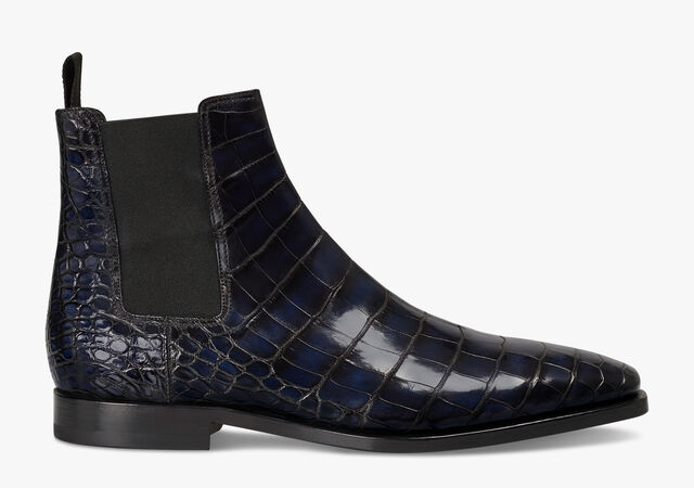 Caractère Éclair Alligator Leather Boot, NERO BLU, hi-res