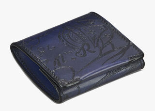 Origine Engraved Calf Leather Coin Purse, BLEU PRUSSIEN, hi-res